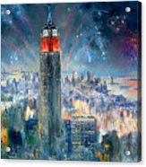 Empire State Building In 4th Of July Acrylic Print by Ylli Haruni