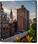 Empire State Building Sunset Rooftop Garden Acrylic Print