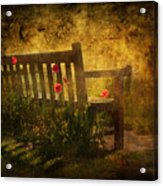 Empty Bench And Poppies Acrylic Print