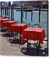 Empty Canal Side Tables Awaiting Hungry Customers In Venice, Italy  Acrylic Print