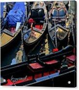 Empty Gondolas Floating On Narrow Canal In Venice Acrylic Print