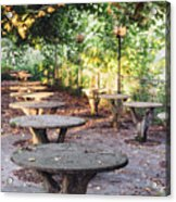Empty Picnic Tables In The Early Fall With Fallen Leaves Acrylic Print