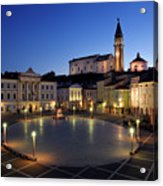 Empty Tartini Square In Piran Slovenia With Courthouse, City Hal Acrylic Print