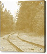 End Of The Rail-sepia Acrylic Print