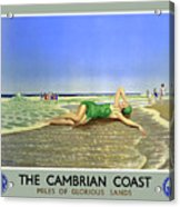 England Cambrian Coast Vintage Travel Poster Acrylic Print