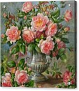 English Elegance Roses In A Silver Vase Acrylic Print