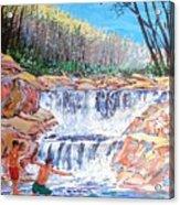 Enjoying Waterfall Acrylic Print
