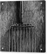 Ensilage Fork Up On Plywood In Bw 66 Acrylic Print