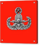 Eod Master Badge Emblem On Red Acrylic Print