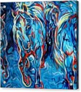 Equine Abstract Blue Four By M Baldwin Acrylic Print