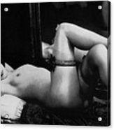 Erotic Photo Of A Naked Woman Wearing Stockings And Garters, 1910s Acrylic Print