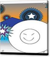 Eskimo And Snowflakes Graphic Acrylic Print