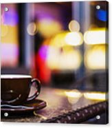 Espresso Coffee Cup In Cafe At Night Acrylic Print