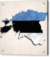 Estonia Map Art With Flag Design Acrylic Print