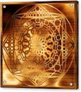 Eternity Mandala Golden Zebrawood Acrylic Print
