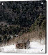 Ethereal Barn In Winter Acrylic Print