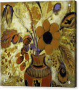 Etrusian Vase With Flowers Acrylic Print
