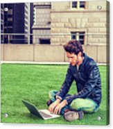 European Graduate Student Studying In New York Acrylic Print