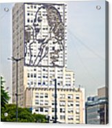 Eva Peron Outlined On The Wall Of A Skyscraper On July Nine Avenue  In Buenos Aires-argentina Acrylic Print