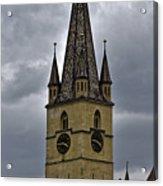 Evangelical Cathrdral Sibiu Romania tower clock Acrylic Print