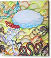 Eve Being Chased Out Of The Garden Of Eden Acrylic Print