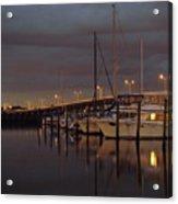 Evening At The Twin Dolphin Marina Acrylic Print by Kimberly Camacho