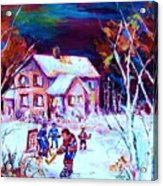 Evening  Game At The Chalet Acrylic Print
