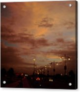 Evening Lights On Road Acrylic Print