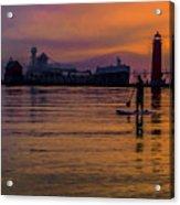 Evening On Lake Michigan At Grand Haven Acrylic Print
