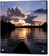 Evening Paddle On Spoon Lake Acrylic Print by Larry Ricker
