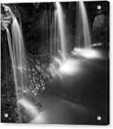Evening Plunge Waterfall Black And White Acrylic Print