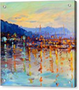 Evening Reflections In Piermont Dock Acrylic Print