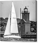 Evening Sail At Holland Light - Bw Acrylic Print
