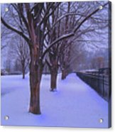 Evening Snow Path At Waterfront Park Burlington Vermont Acrylic Print
