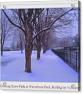 Evening Snow Path At Waterfront Park Burlington Vermont Poster Greeting Card Acrylic Print