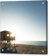 Evening Sun On Lifeguard Tower On Ostriconi Beach In Corsica Acrylic Print
