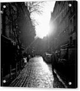 Evening Walk In Paris Bw Acrylic Print