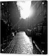 Evening Walk In Paris Bw Squared Acrylic Print