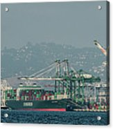 Evergreen Freight Ship And Cargo In Port Of Oakland, California Acrylic Print
