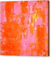 Everyone's Fav - Pink And Orange Abstract Art Painting Acrylic Print