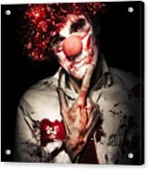 Evil Blood Stained Clown Contemplating Homicide Acrylic Print