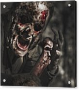 Evil Male Zombie Screaming Out In Bloody Fear Acrylic Print