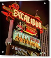 Excalibur Casino Sign Night Acrylic Print