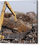 Excavator Moving Scrap Metal With Electro Magnet Acrylic Print