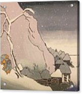 Exiled Buddhist Cleric Nichiren In The Snow Acrylic Print