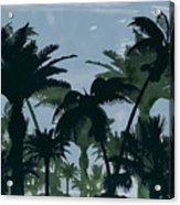 Exotic Palm Trees Silhouettes Water Color Acrylic Print
