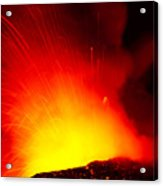 Exploding Lava At Night Acrylic Print