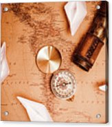Explorer Desk With Compass, Map And Spyglass Acrylic Print