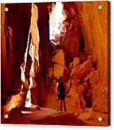 Exploring A Cave Acrylic Print