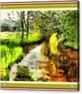 Expressionist Riverside Scene L A With Decorative Ornate Printed Frame Acrylic Print